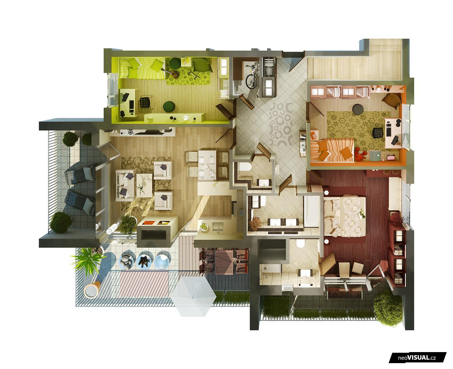 Grundriss villa 3d  neoVISUAL | 3D půdorysy